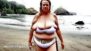 Huge tits Plus-size beauty emerges from the sea