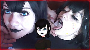 Steaming goth gets a Massive cumshot on face - Mavis Cosplay