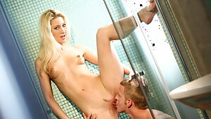 Sexy Petite Natural Blonde in the Shower