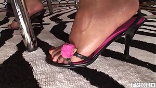 Intense interracial foot fucking pornography with long-legged babes Jasmine Webb & C.J.