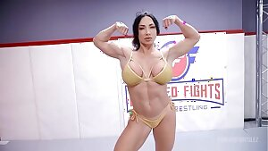 London Sea fighting Brandi Mae in lesbian wrestling with face sitting and a rock-hard strapon screw