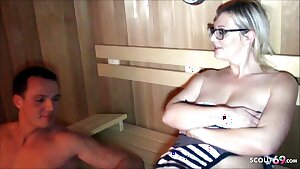 3Some with Stranger in Sauna with Curvy German With Saggy Tits