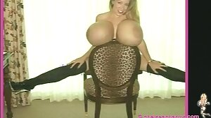 Supah sized monster boobs on blonde mother - solo