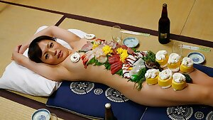 Japanese woman Asuka Ayanami is a food plate, uncensored
