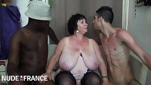 Old grandma Olga takes on 2 guys - fat ass and monster cupcakes in multiracial threesome
