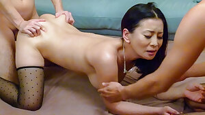 Asian mom lands a powerful cock up her wooly snatch