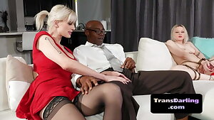 Lingerie tgirl doggystyled in interracial trio