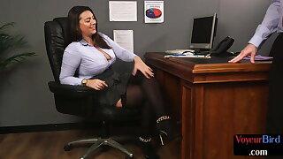 Busty office voyeur teasing subject's boner with her soles