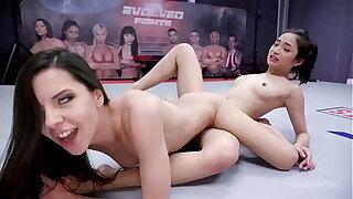 Lesbian Girls Wrestling and scissoring as Milana Ricci Strapon Fucks Avery Black