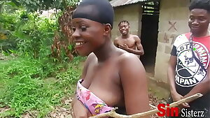 Two Brothers Caught Fucking Two  Local African Black With Vagina Sisters Farming In Public,