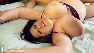 Brunette fatty Plus-size with big ass and chubby belle gets cumshot