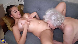 Old hairy granny spoiling busty stunner