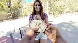 Youthful  Redhead Fucked By Stranger In Public For Cash, Point of view