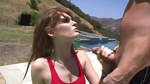 Redhead Teen with perky tits seduces lifeguard outdoors on the beach