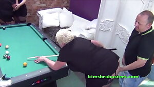 Mature big-chested British woman gets fucked over a pool table