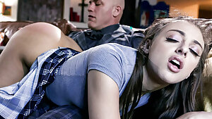 Stepdaughter Gia Derza's big ass spanked and ass fucked by stepdad