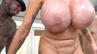 Busty Stepmom Joslyn James Gets DPed By Immense Ebony Cocks